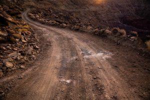 dirt track across moorland