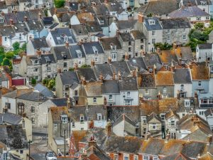 Terraced houses in an English town