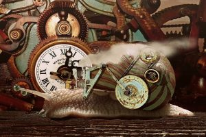 steampunk snail with clocks