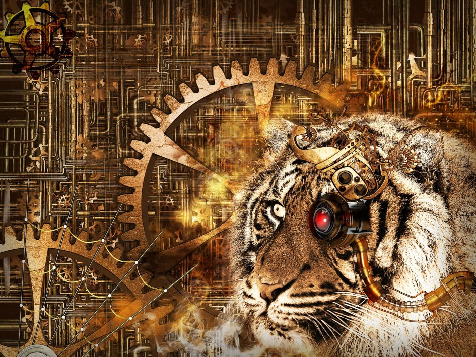 steampunk tiger with cogs and red glass eye