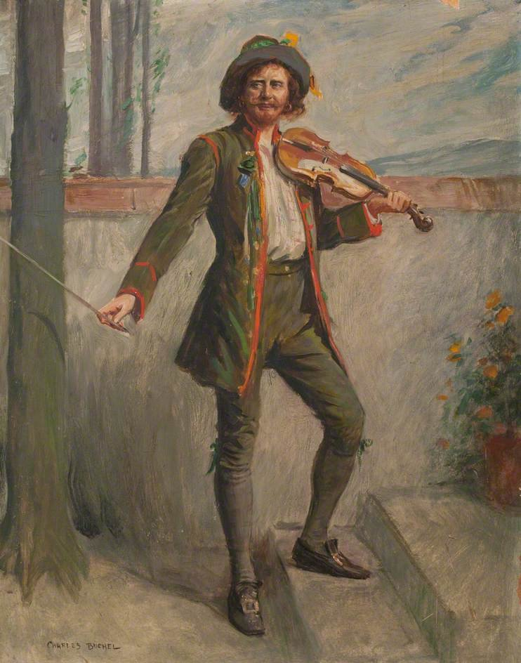Colour painting of eighteenth century man dressed in green with a violin