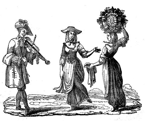 Old black and white sketch of a fiddler playing for two ladies all in 17th century dress