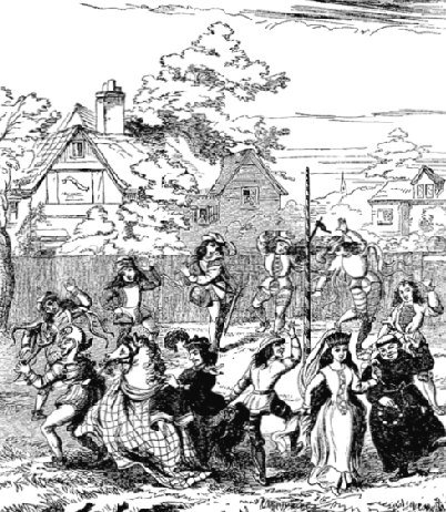 Black and white sketch of country folk dancing around a maypole in eighteenth century England